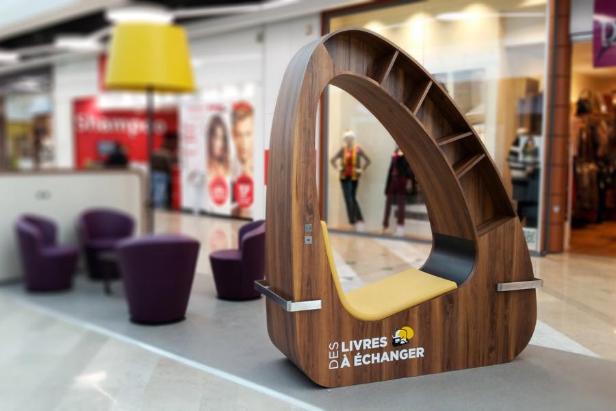 Mobilier sur-mesure pour galeries commerciales Immochan