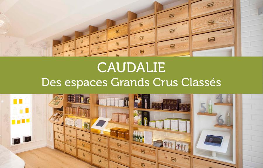 Agencement et mobilier cosmétiques sur-mesure pour boutiques Caudalie