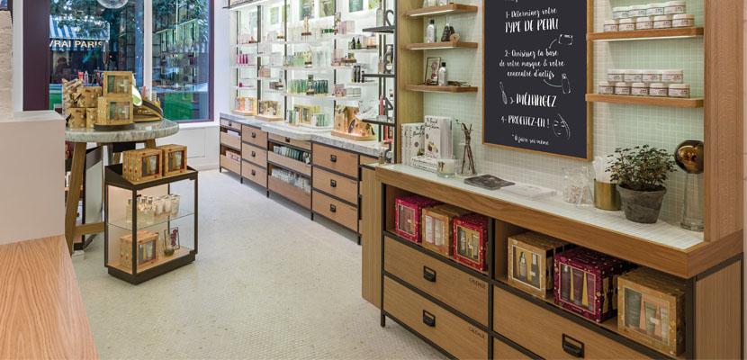 Agencement et mobilier cosm tique elemen pour caudalie for Boutique meuble paris